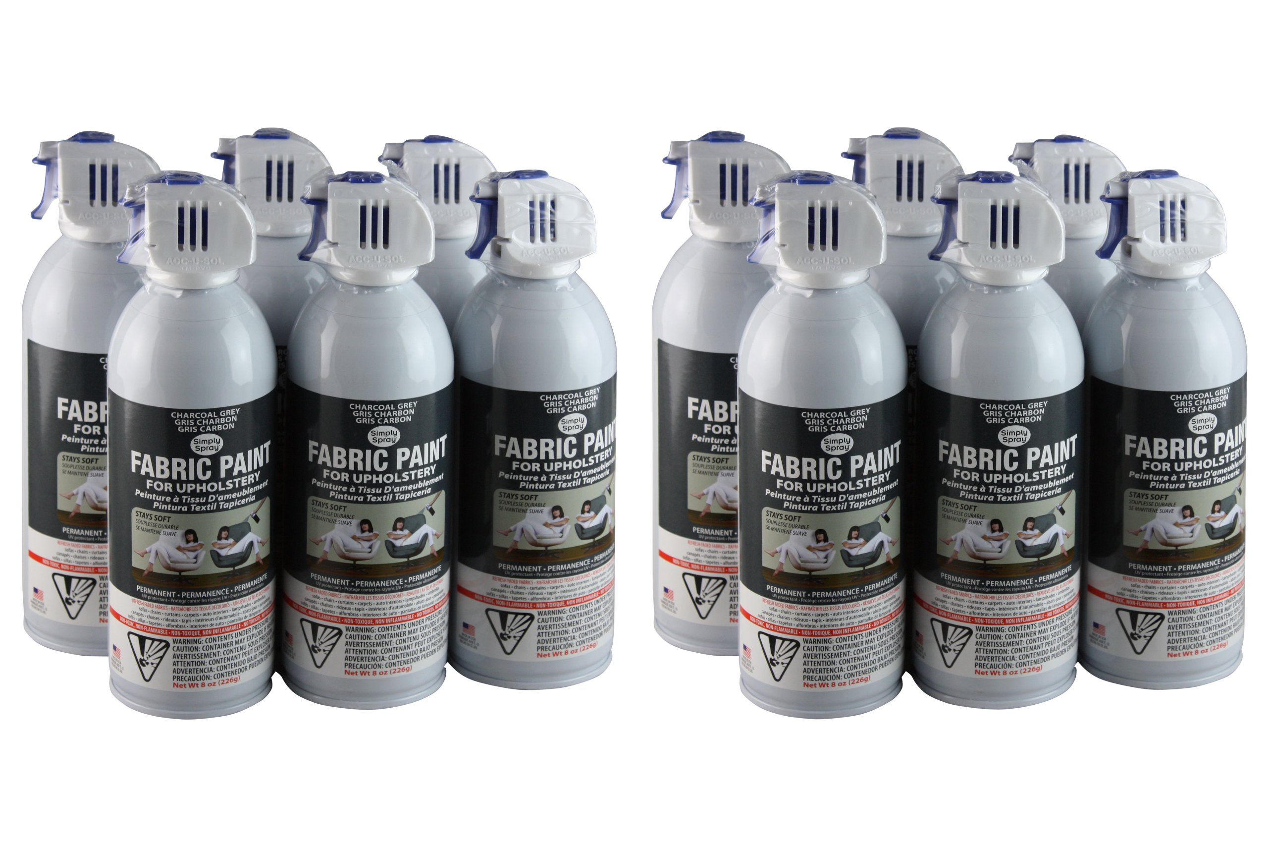 Simply Spray Upholstery Fabric Spray Paint 8 Oz. Can 12 Pack Charcoal Grey