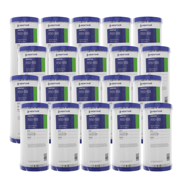 Pentek R50-BB 50 Micron 10 x 4.5 Whole House Pleated Sediment Filter 12 Pack