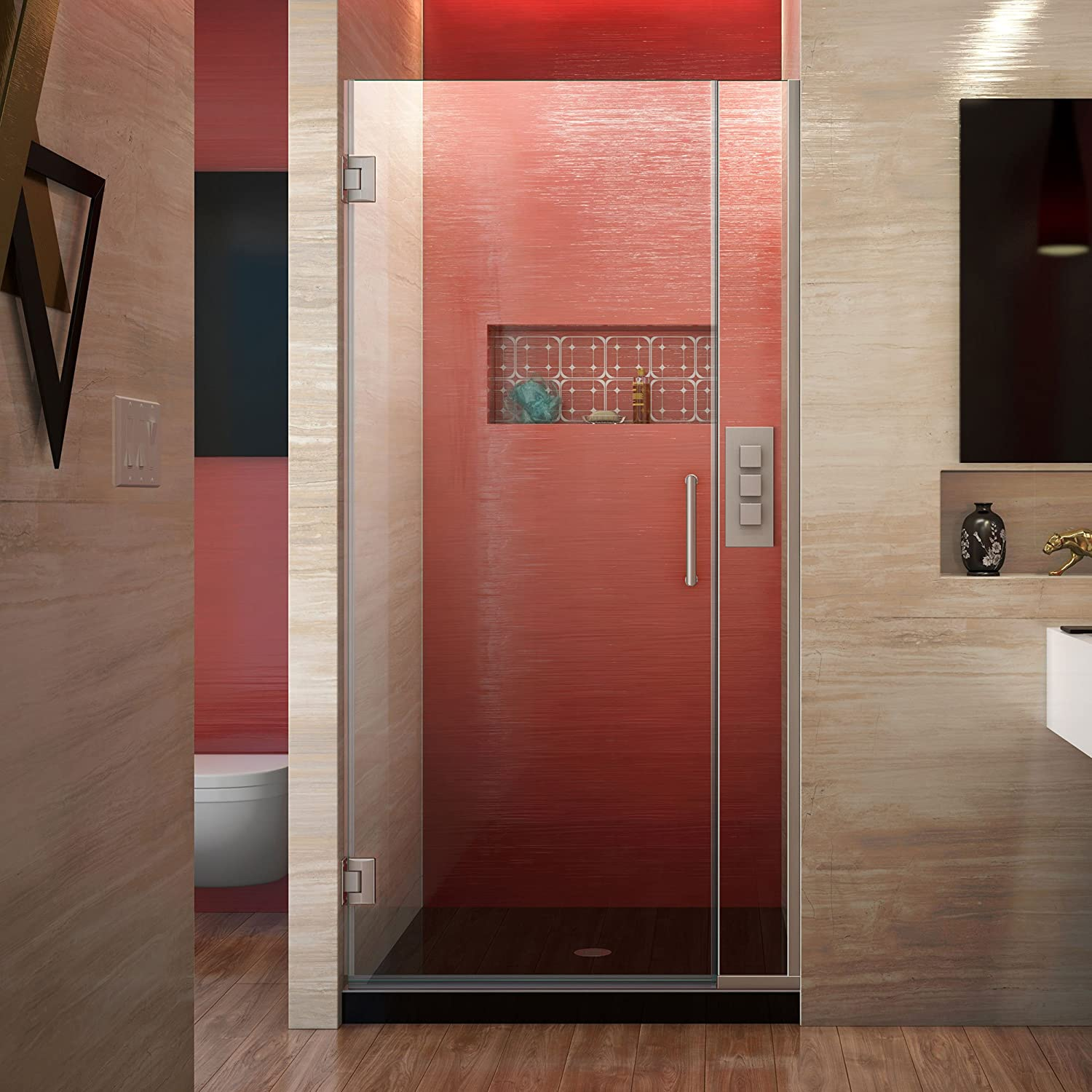 DreamLine Unidoor Plus 33 1 2-34 in. W x 72 in. H Frameless Hinged Shower Door, Clear Glass, Brushed Nickel, SHDR-243357210-04