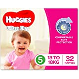 Huggies Ultra Dry Nappies, Girls, Size 5 Walker (13-18kg), 32 Count
