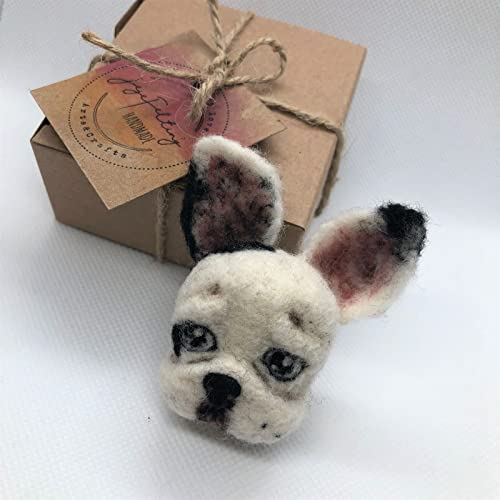 Needle Felted French Bulldog Brooch Handmade Unique Amazon Co Uk