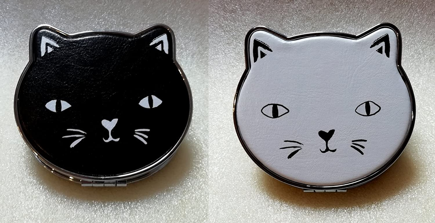 Cat Design Compact make up Mirror - Soft pvc - Black or White Jones Home & Gift