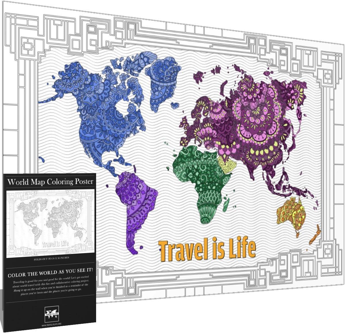 Travel is Life Póster X-Large con diseño de Mapa del Mundo para Colorear por Mandala Avanzada para niños y Adultos, 61 x 91 cm: Amazon.es: Hogar