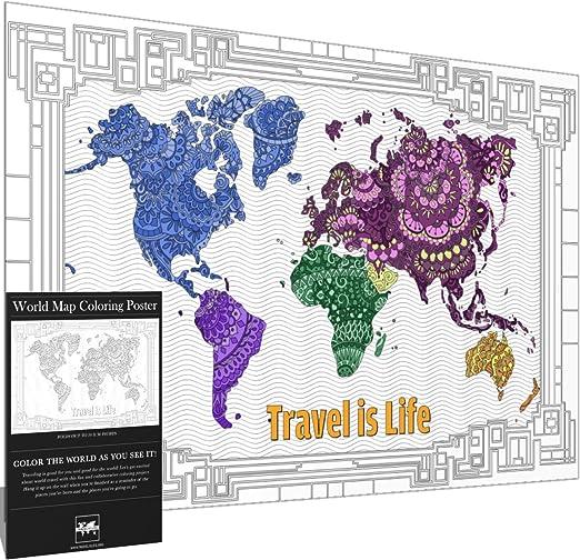 Amazon.com: ES la vida de viaje Mapa del Mundo para colorear ...
