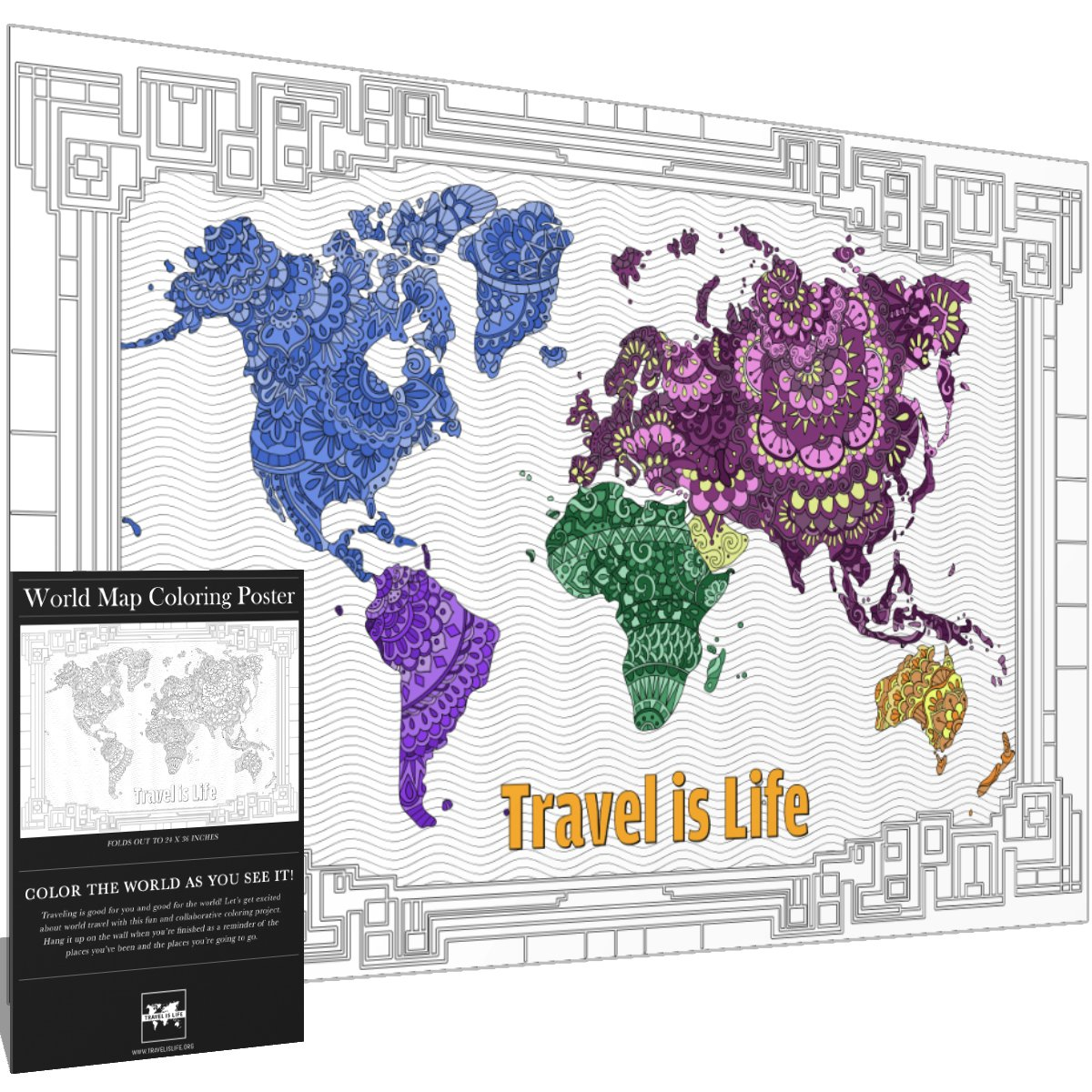 Amazon Com Travel Is Life X Large World Map Coloring Poster Gift