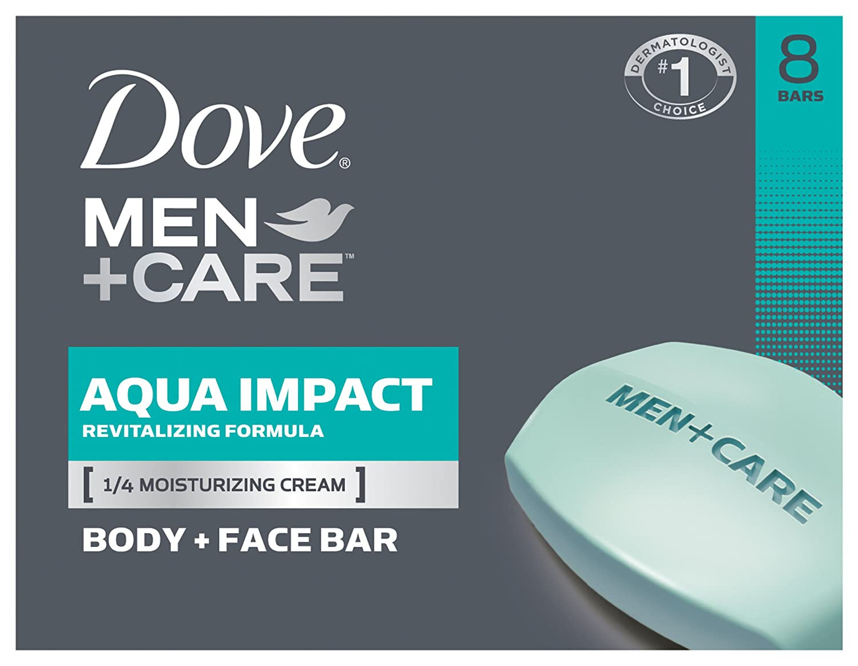 Dove Men+Care Body and Face Bar, Aqua Impact 4 oz, 8 Bar
