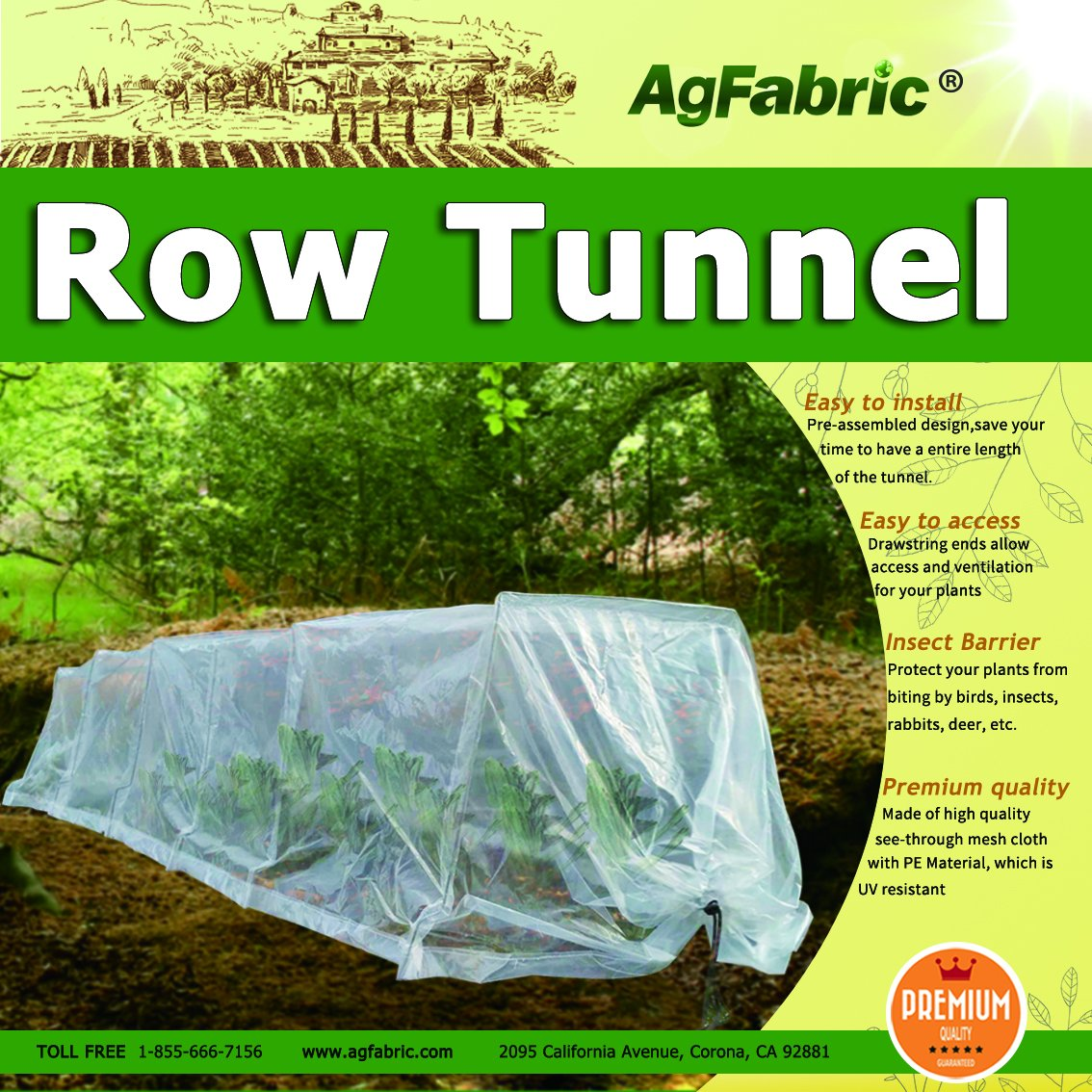 Polyethylene Grow Tunnel for Plants Tunnel Plant Garden Row Cover,Plant Cover &Frost Blanket for Season Extension and Seed Germination,10ft Longx 23''Widex15''High