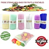 DADDY GTM Mesh Multi-Purpose Vegetables and Fruits Fridge Storage Washable Zip Bags (Multicolour) - Pack of 12
