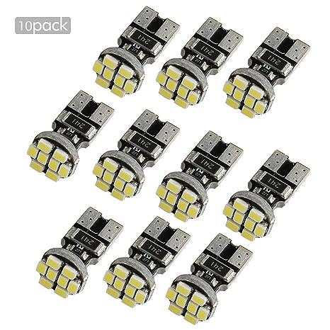 ZISTE 10 Piezas de alta potencia T10 W5W 194 501 3020SMD 8 LEDs CANBUS de 6000K