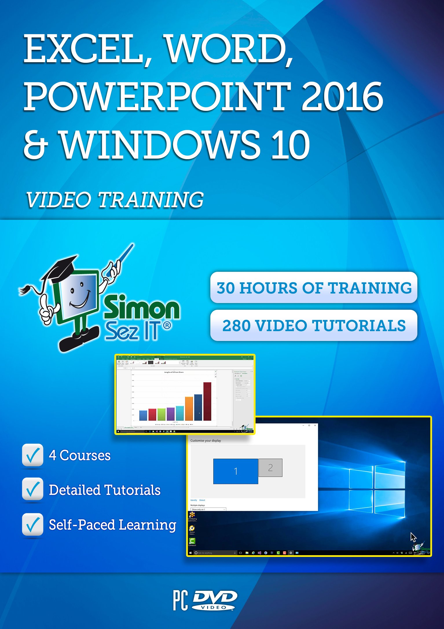 Microsoft Excel, Word, Powerpoint 2016 and Windows 10 - 30 Hours of Video Training Tutorials by Simon Sez IT