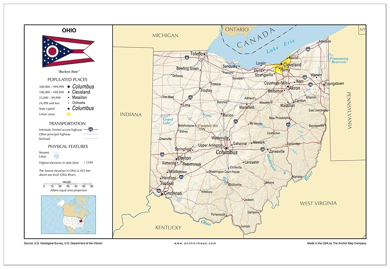 Amazon.com : 13x19 Ohio General Reference Wall Map - Anchor Maps USA ...