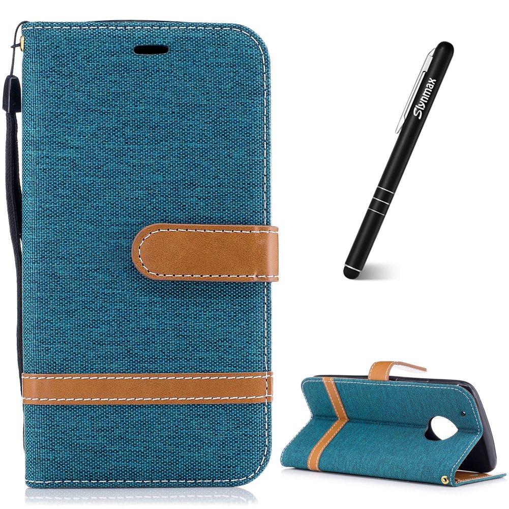 Slynmax Motorola Moto G5 Plus Case, Ultra Slim Lightweight Bookstyle Colorful Denim Leather Case Flip Folio PU Leather Holster + 1* Stylus Pen LYJ-YUANRT06341