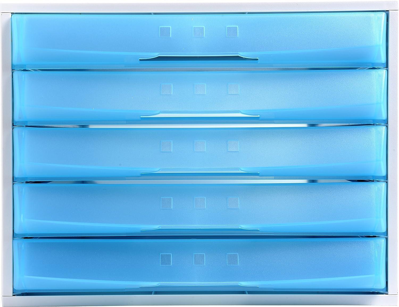 Exacompta-226079D-The System 8 Module de Classement 8 Tiroirs Gris Lumière/Bleu Glacé Caissons à tiroirs