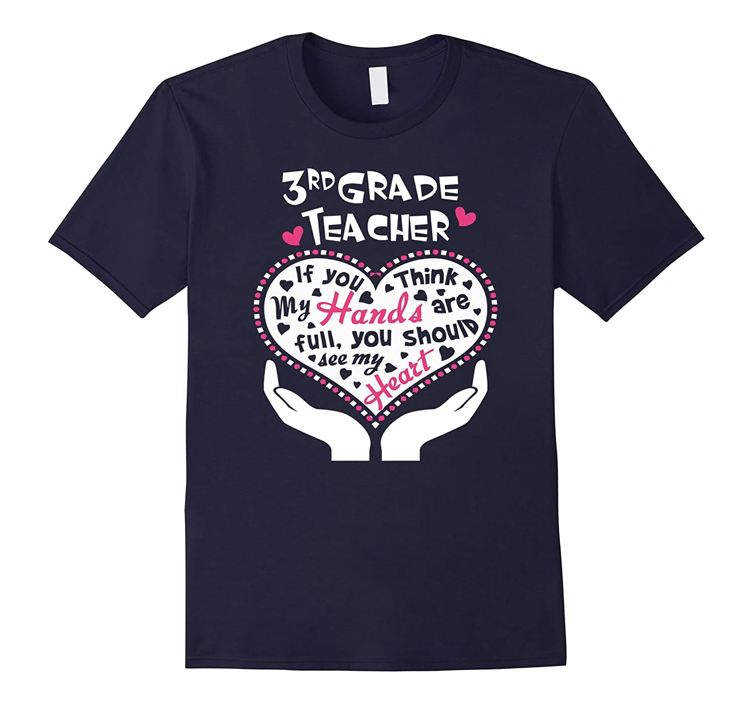 3rd Grade Teacher Hand & Heart T Shirt-BN