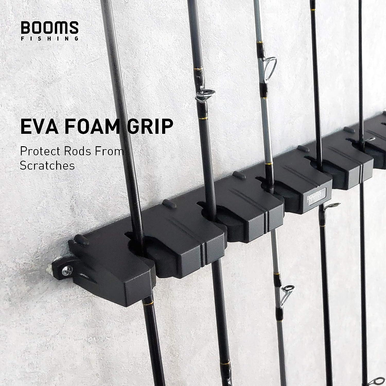 Booms Fishing WV2 - Soporte de caña de pescar, soporte vertical con 6 cañas de pescar, para pared, garaje, casa