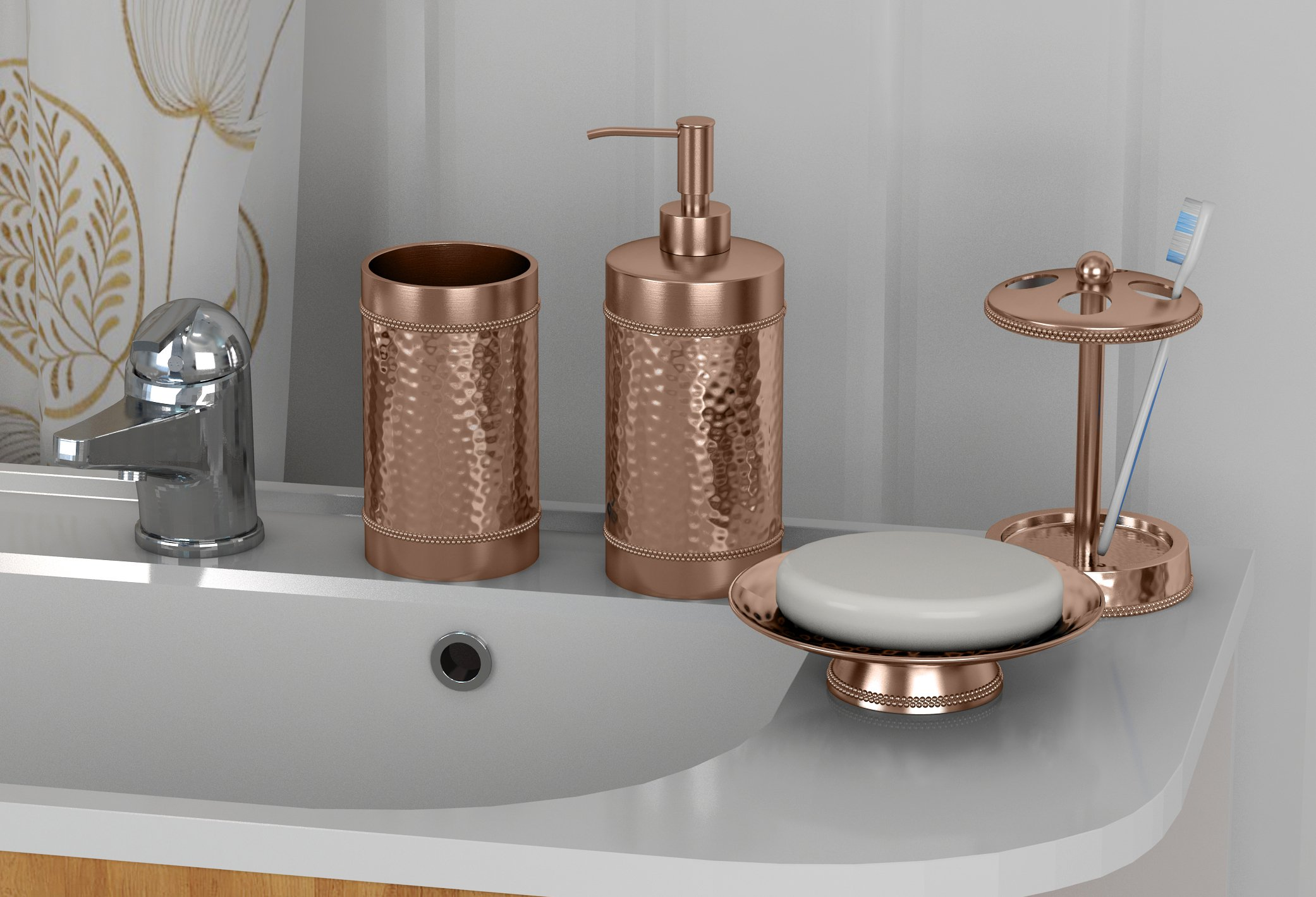 nu steel NuSteel Hammered, Tumbler & Lotion Copper set/4-Soap Dish,TBH,Tumbler,Lotion Pump