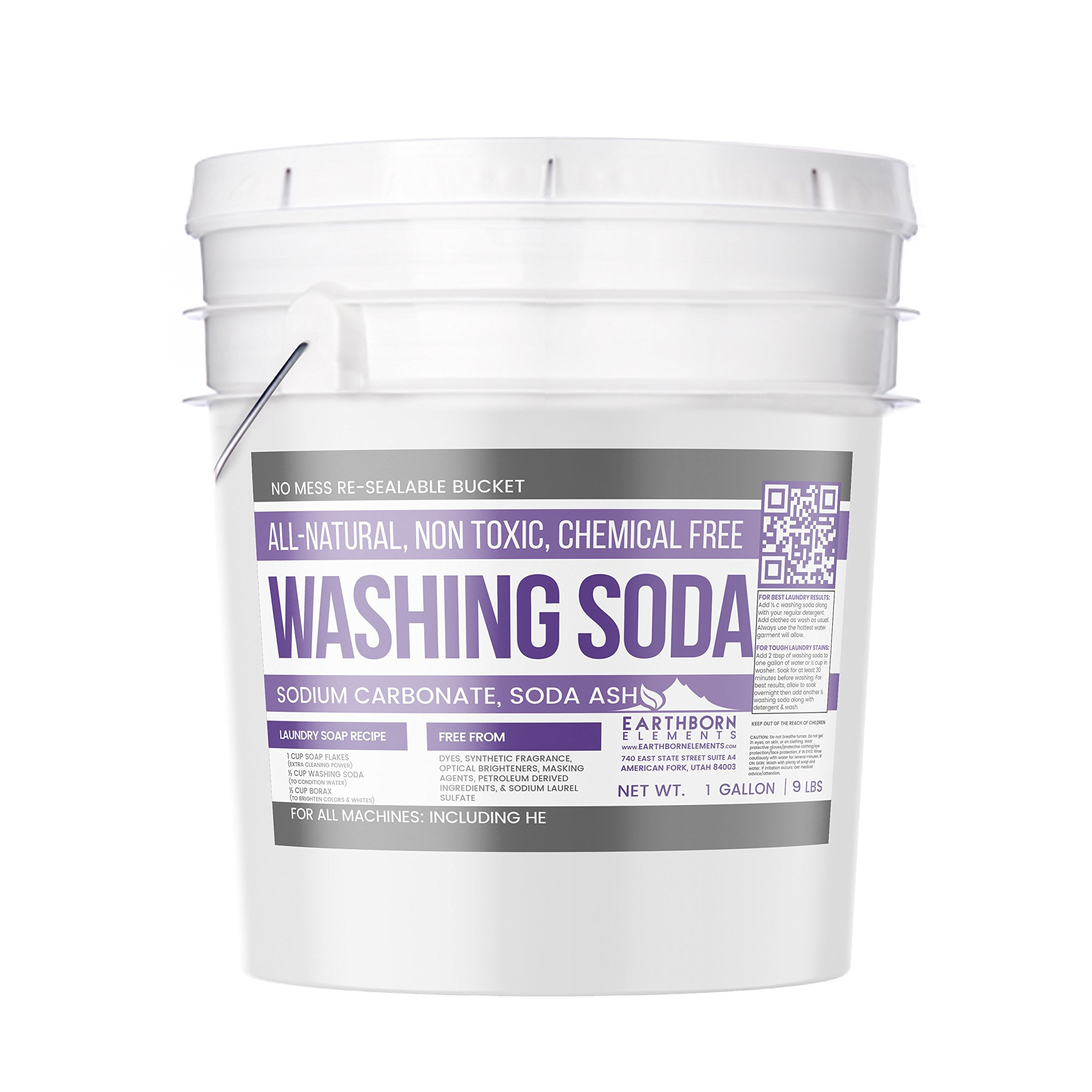 All-Natural Washing Soda (1 Gallon (9 lbs)) by Earthborn Elements, Soda Ash, Sodium Carbonate, Laundry Booster, Non Toxic, Hypoallergenic