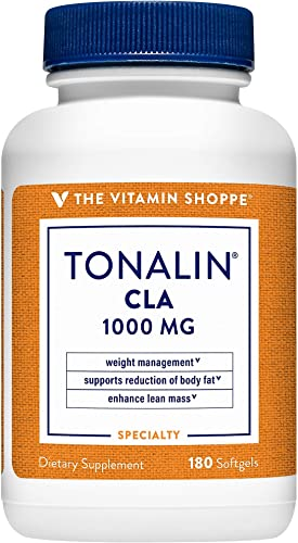 Tonalin CLA 1000mg Softgel, Conjugated Linoleic Acid 740mg from Safflower Seeds Supports Reduction of Body Fat, Stimulant Free, Gluten Free 180 Softgels by The Vitamin Shoppe