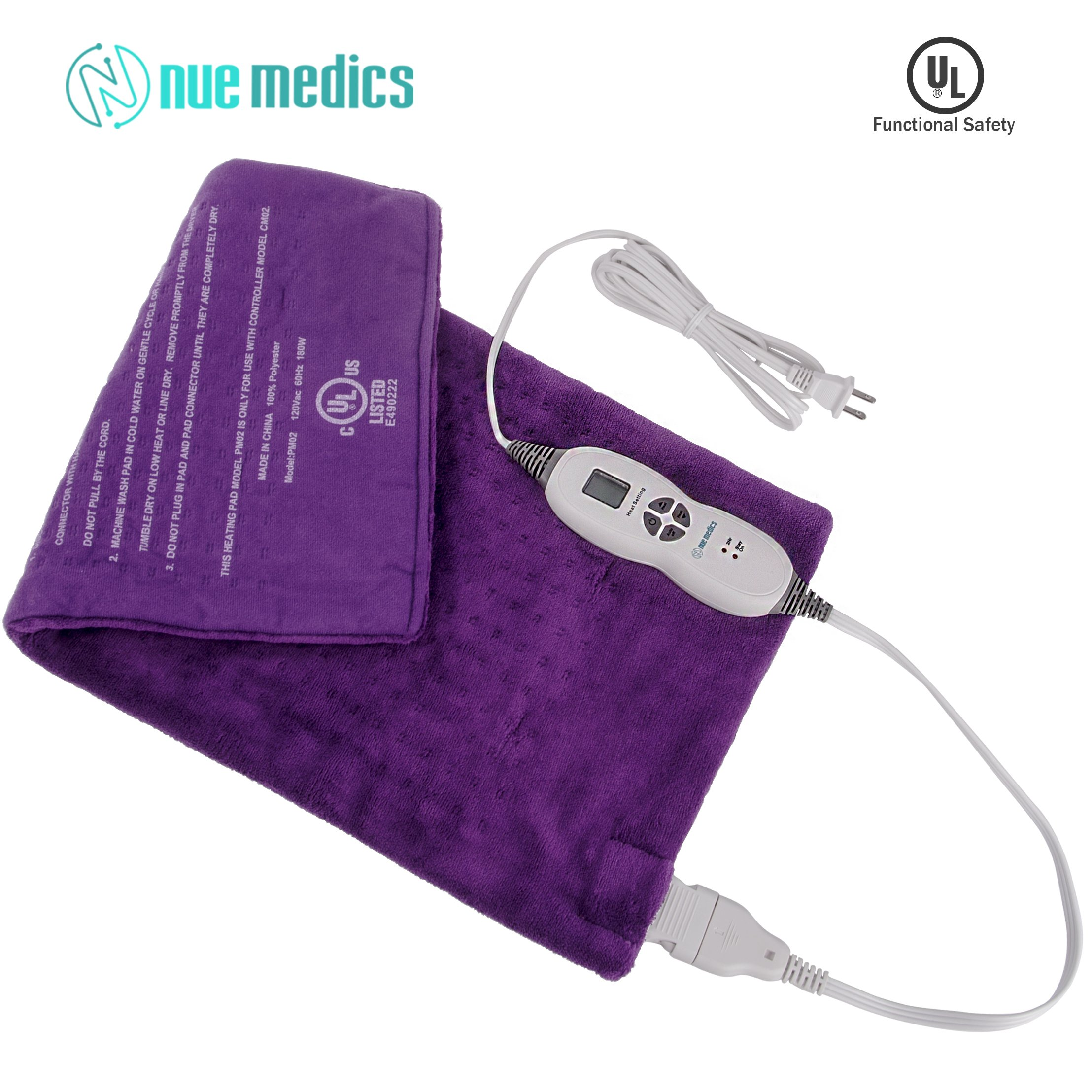 XL Heating Pad 12''X24'' Moist Or Dry Heat Therapy for Back Neck Shoulder Pain Relief and Muscle Cramps. 2 Hour Auto Shut-Off for Piece of Mind - Machine Washable Micro-Plush Fabric Purple
