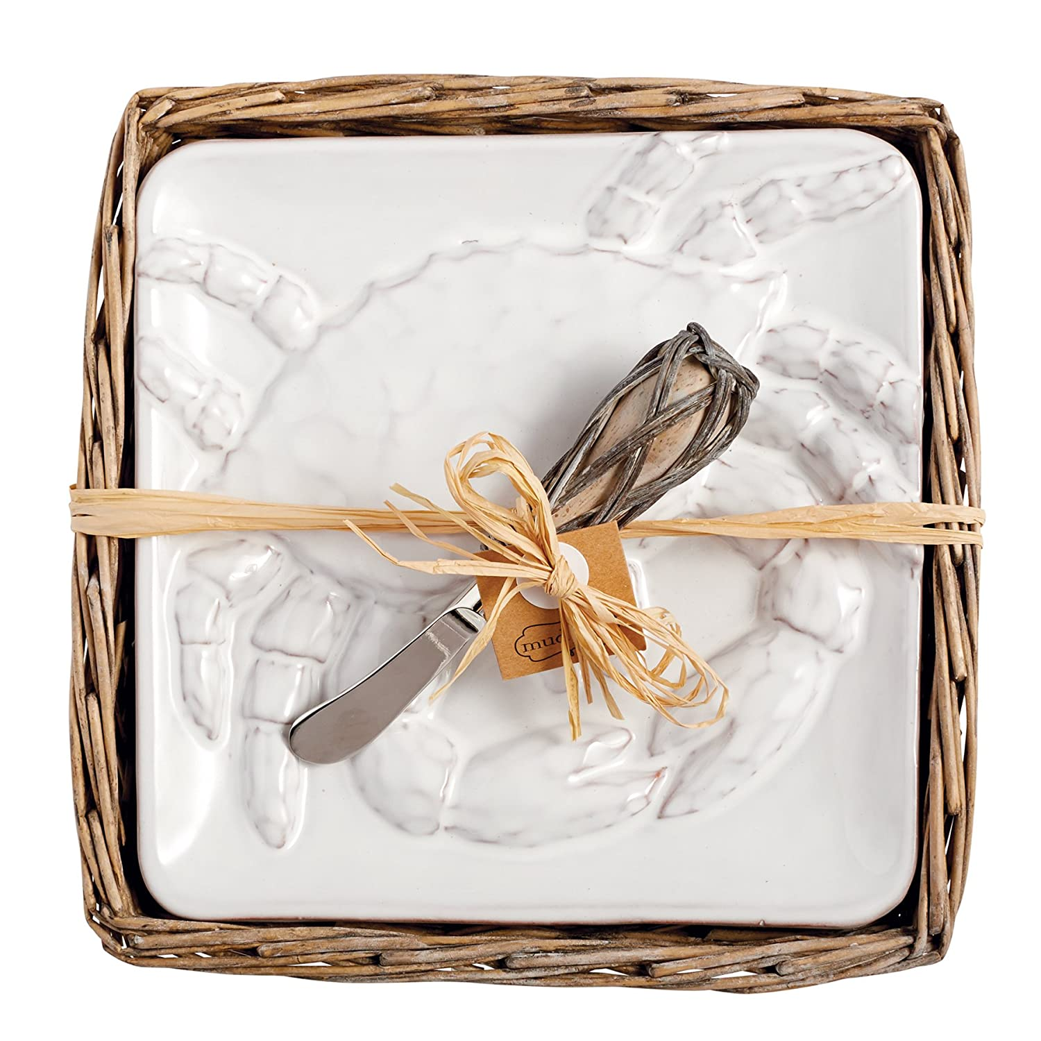 Coastal Christmas Tablescape Décor - Mud Pie white crab cheese plate set in willow holder from the Classic Crab Collection