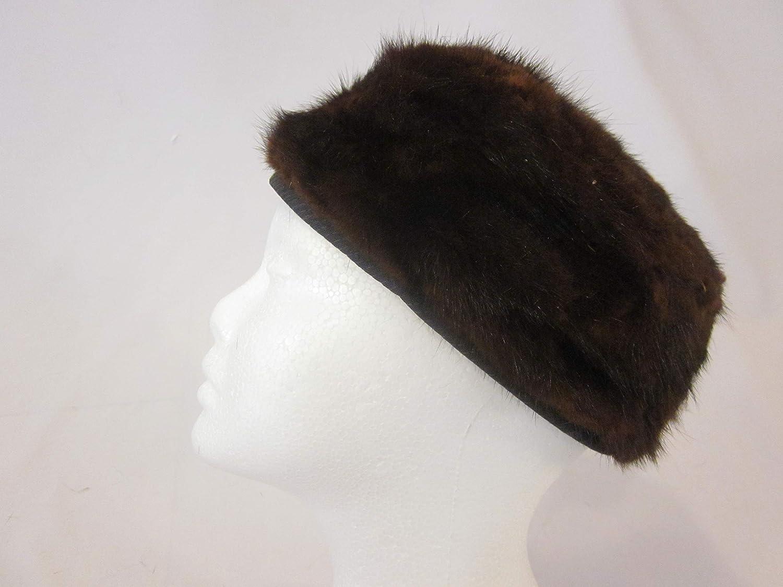 Amazon Com L 22 Real Fur Hat Womens Fur Hat Pillbox Hat Real Mink Fur Hat Dark Brown Vintage Pillbox Fur Hat Vintage Mink Hat Handmade