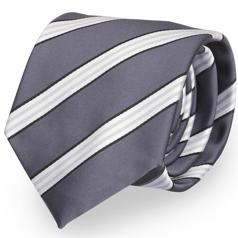 Fabio Farini dunkelgraue 8 cm Krawatte, weiß gestreift, Buisness, Hochzeit oder Abschlussball weiß gestreift 1000079