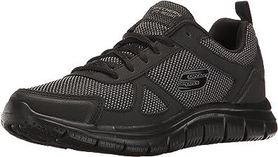Wide Fit Skechers Shoes Memory Foam Sport 52631 Train Mesh Navy Leather SZ 9.,13