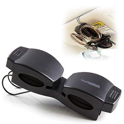 SUPERIOR ESSENTIALS Locking Double Sunglasses Holder for Sun Visor-Securely Holds Glasses & Sunglasses on Sun-Visor: Automotive