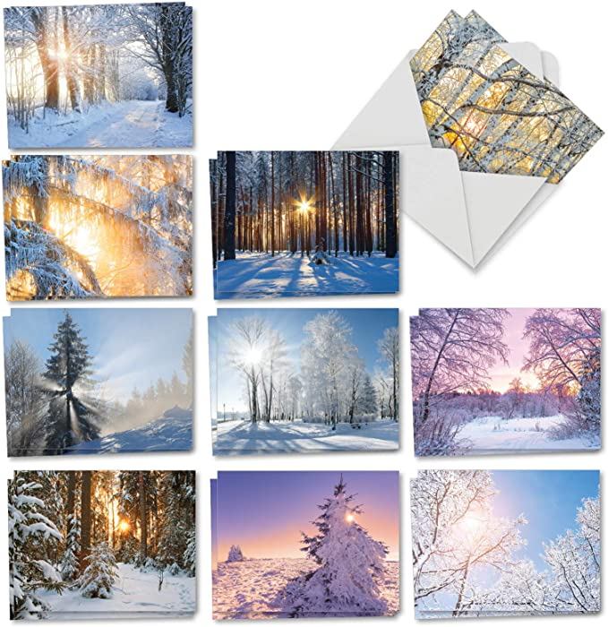 The Best Card Company - 20 Landscape Nature Note Cards Blank (4 x 5.12 Inch) (10 Designs, 2 Each) - Winter Sunrise AM6655OCB-B2x10