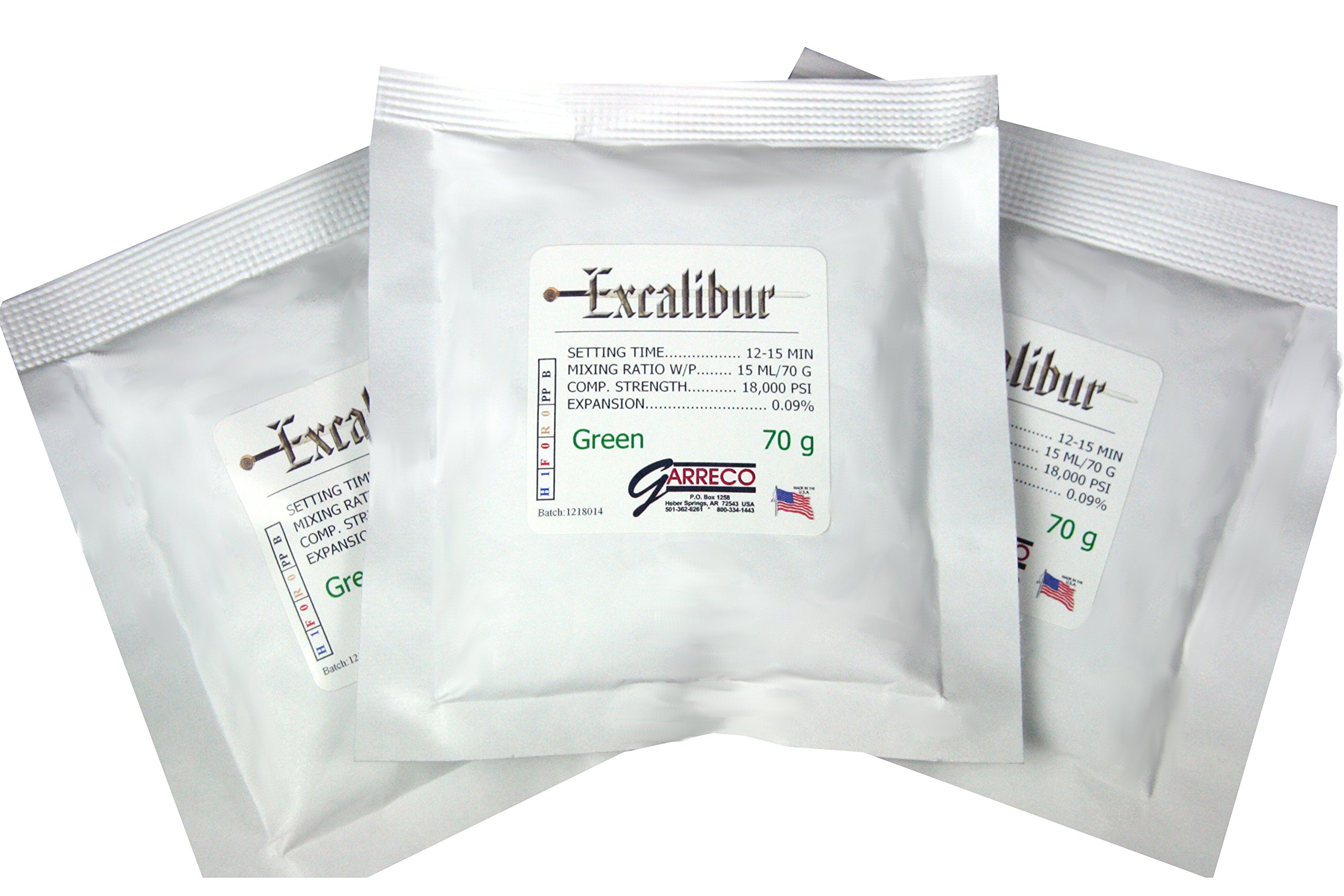 Garreco 1352580 Dental Excalibur, Type IV Die Stone, 120 x 70 g Pouches, Green (Pack of 120) by Garreco,LLC (Image #1)