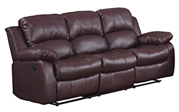 Bon Homelegance Double Reclining Sofa, Brown Bonded Leather