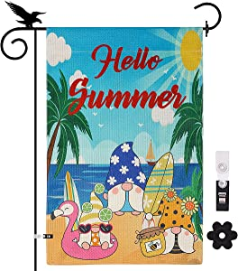 YISUYA Summer Outdoor Decor Gnomes Beach Summer Garden Flags 12x18 Double Sided Garden Yard Flags Outdoor Decoration Burlap Garden Flag Happy Summer Garden Flag US Garden Flags for Outside