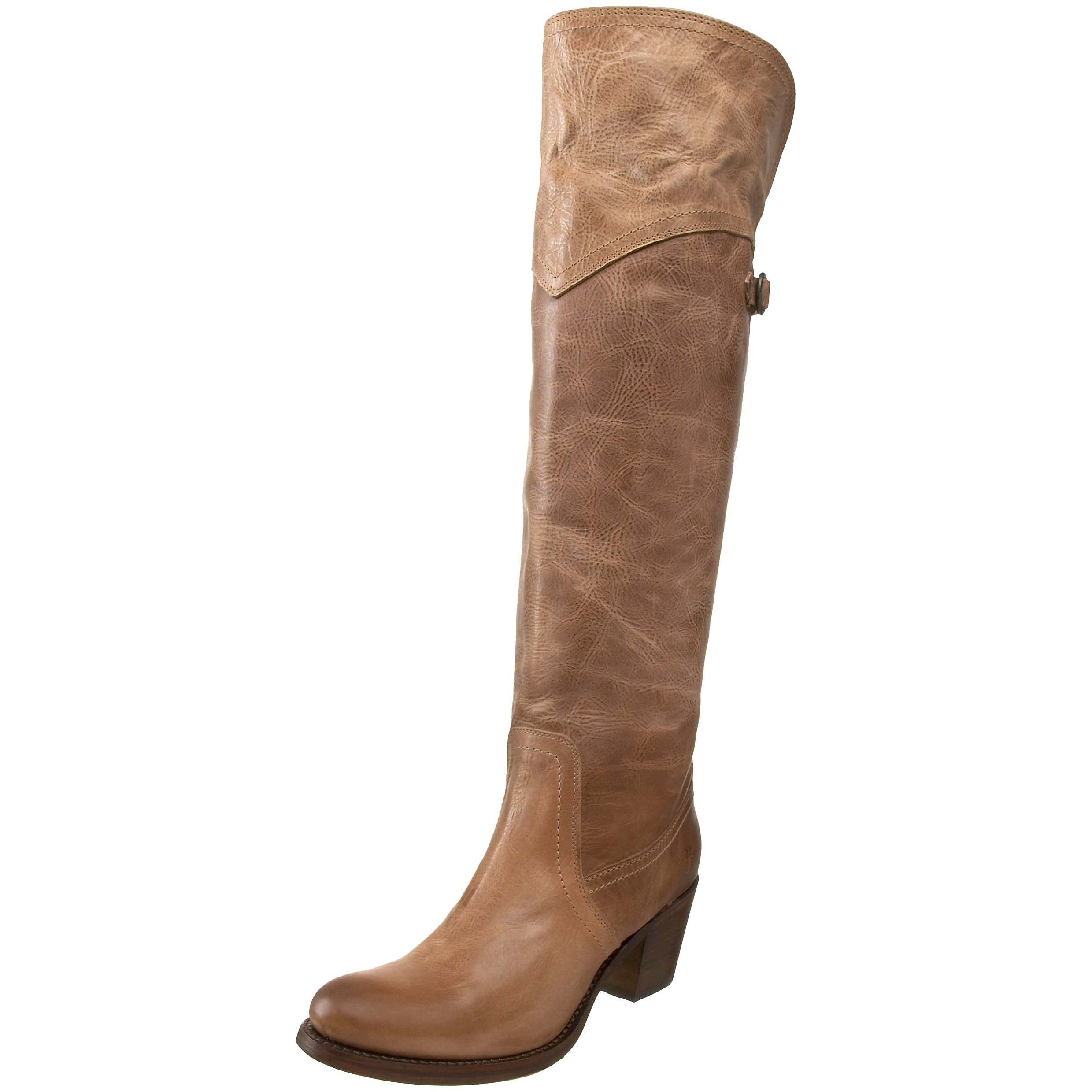 FRYE Women's Jane Tall Cuff Boot, Tan Burnished Antique Leather, 6 M US
