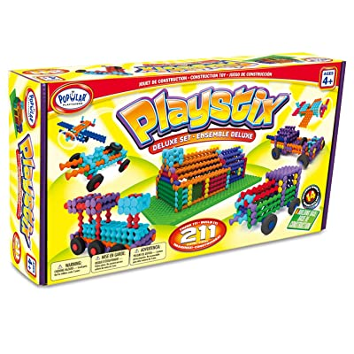 Playstix Deluxe Set Construction Toy Building Blocks 211 Piece Kit: Toys & Games