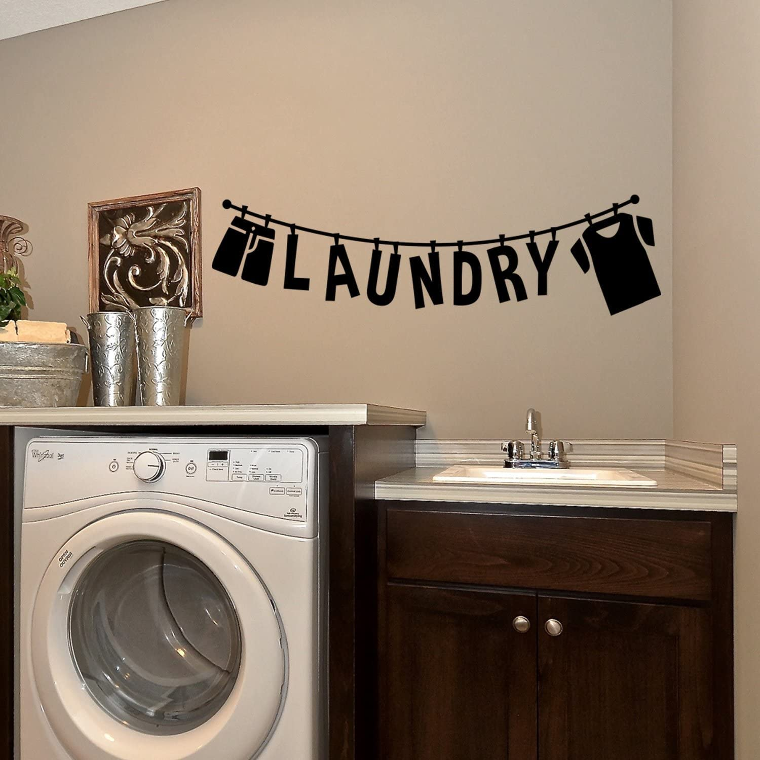 "Laundry Lettering Sign - 10"" x 37"" - Laundry Room Vinyl Decal - Funny Quotes Wall Decor Sticker - Waterproof Vinyl Stickers (10"" x 37"", Black)"