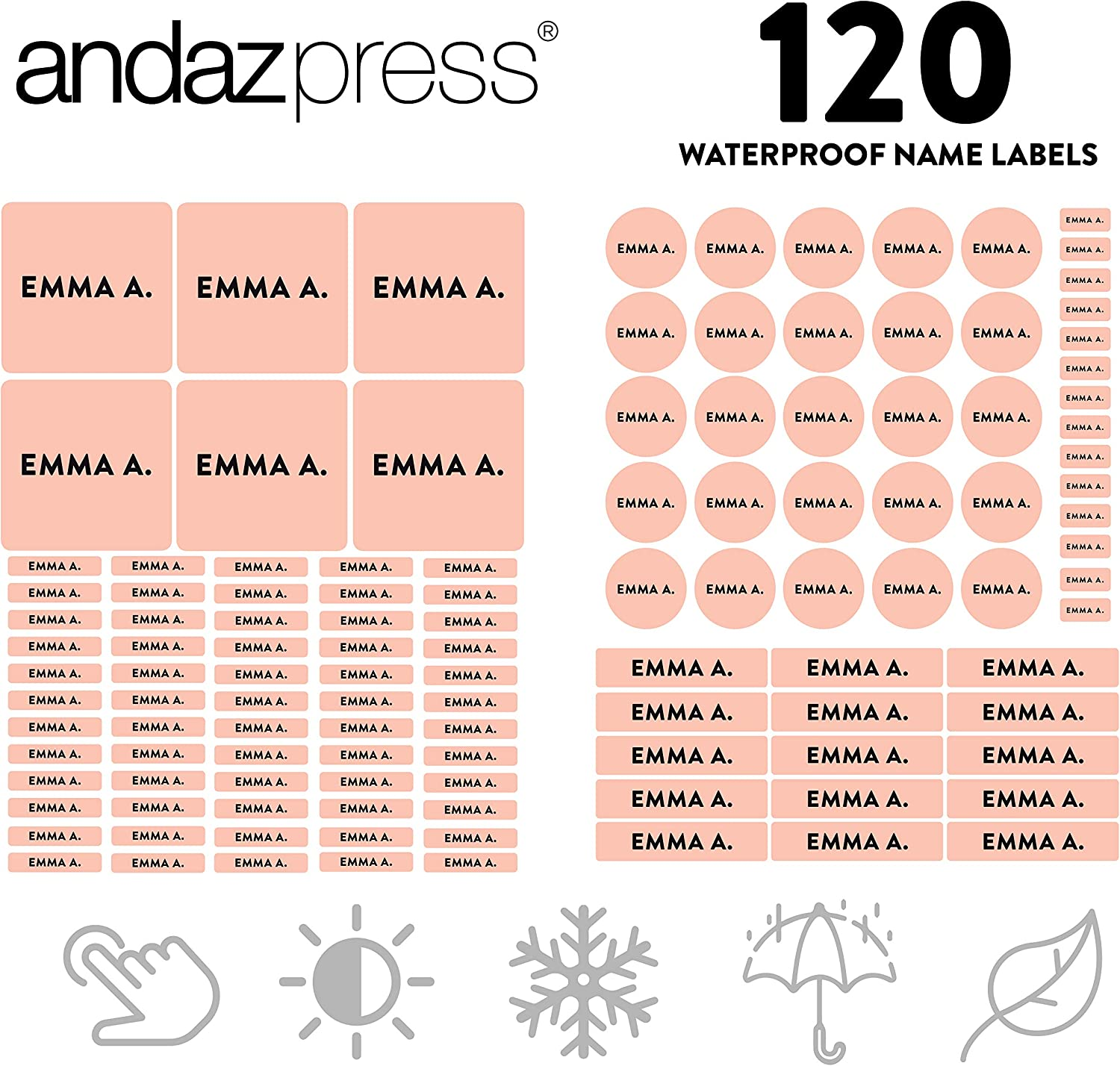 Andaz Press Custom Personalized Waterproof School Name Labels, Peach Champagne, 120-Pack, Kids Labels Combo Pack, Customizable Multi-Use Name Stickers for Preschool, Daycare, Supplies, Office, Camping