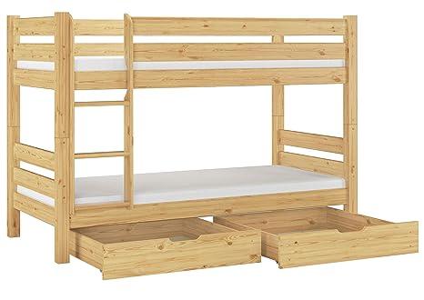 Asse Di Legno Per Letto.Erst Holz Letto Castello 90x200 Per Ragazzi Con Assi Di Legno