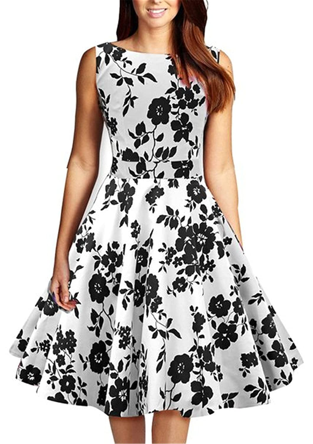 Tailloday Damen 50er Jahre Sommerkleid Ärmellos Vintage Serenity Kleid mit Rockabilly Swing Dress