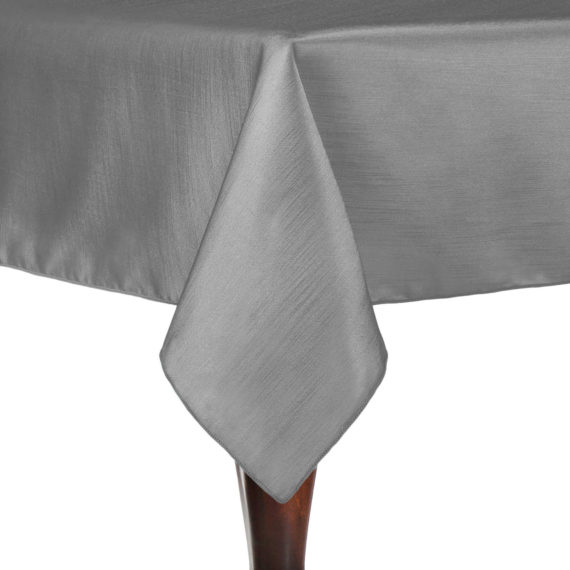 Ultimate Textile (10 Pack) Reversible Shantung Satin - Majestic 60 x 144-Inch Rectangular Tablecloth - for Weddings, Home Parties and Special Event use, Silver