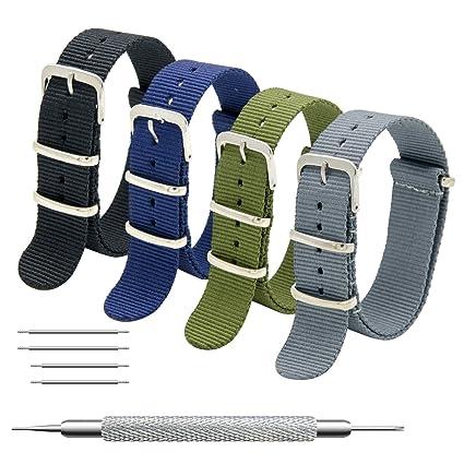 MEGALITH Bracelet de Montre 4 Paquet Bracelet NATO 16mm 18mm 20mm 22mm 24mm  Bandes en Nylon Balistique Suisse Zulu Bracelet avec Boucle en Acier