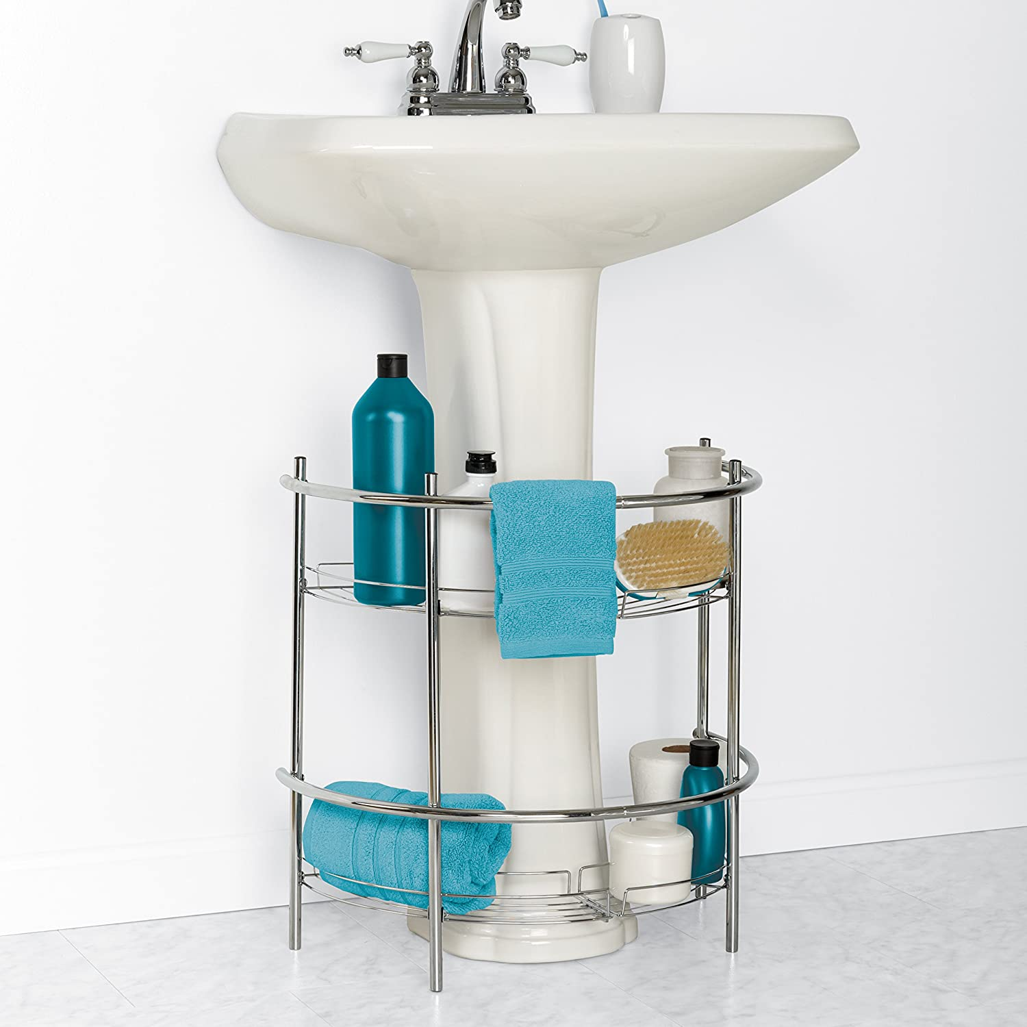 Amazon.com: Zenna Home 2928SS, Pedestal Sink Shelves, Chrome: Home ...