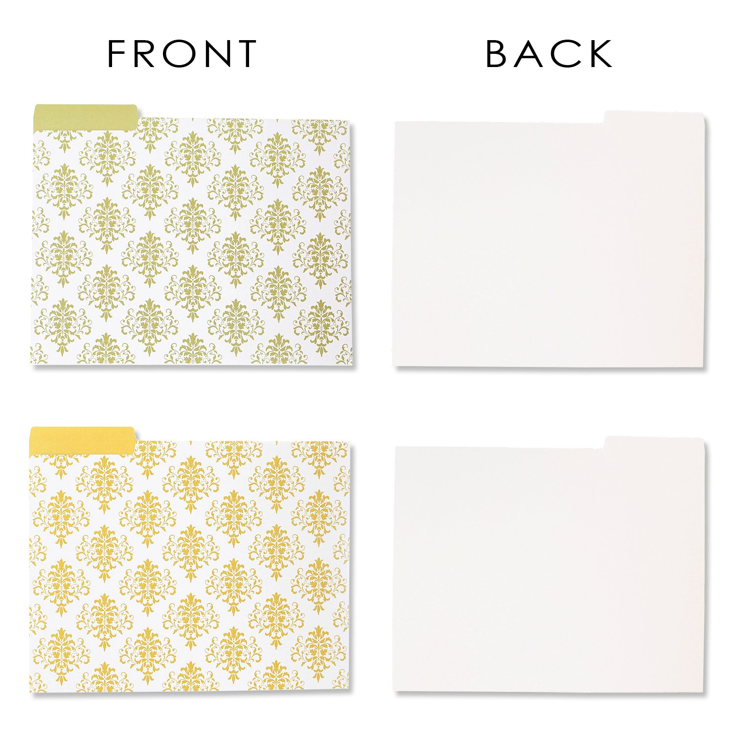 Decorative File Folders - 12-Count Colored File Folders Letter Size, 1/3-Cut Tabs, Includes 6 Cute Damask Patterns, 2 of each, File Filing Organizers, 9.5 x 11.5 Inches by Best Paper Greetings (Image #5)