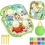 AILUKI Bean Bag Toss Game for Kids Indoor Outdoor Play, Double Sided Cornhole Toss Board,Dinosaur Zoo Theme Kids Cornhole Set