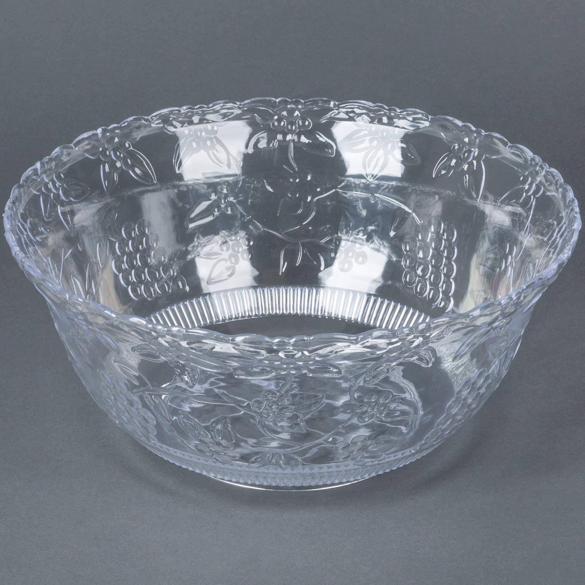 TableTop King Platter Pleasers 3508 8 Qt. Clear Plastic Punch Bowl