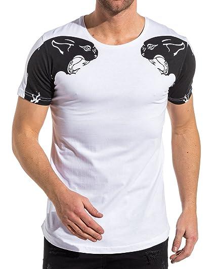 21f1c088741f Blanc Ikao Tee Imprimé Panthère Vêtements Homme Shirt rtztq