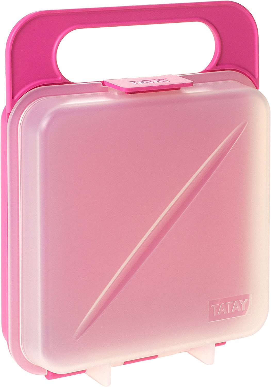 Tatay Porta Contenedor de Alimentos para Sandwich, Libre de BpA, Rosa, 18x14x4.5 cm