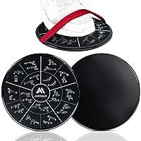 Amonax Core Sliders, dubbelzijdige glijschijven met riemen. Ab Gliders voor Core Exercise Fitness in Gym & Home, Dual…