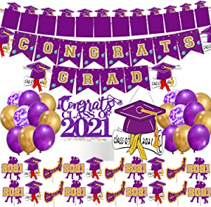 2021 Graduation Party Decorations Purple Congrats Grad Banner Photo Banner Class of 2021 Cake Topper Cupcake Toppers Door Sign 2021 Graduation Party Supplies