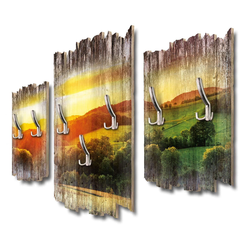 Kreative Feder Wiesen und Felder Designer Wandgarderobe Flurgarderobe Wandpaneele 95 x 60 cm aus MDF DTGH113