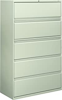 product image for HON 895LQ 801 Series Five-Drawer Lateral File, Roll-Out/Posting Shelves,42w x 67h, Lt Gray